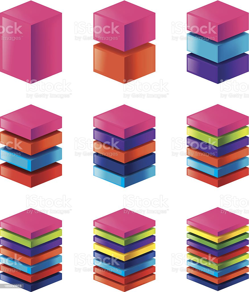 Layered square. vector art illustration