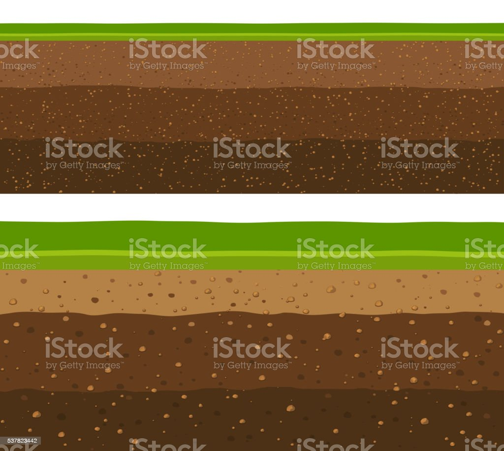 Layers of grass with Underground layers of earth vector art illustration