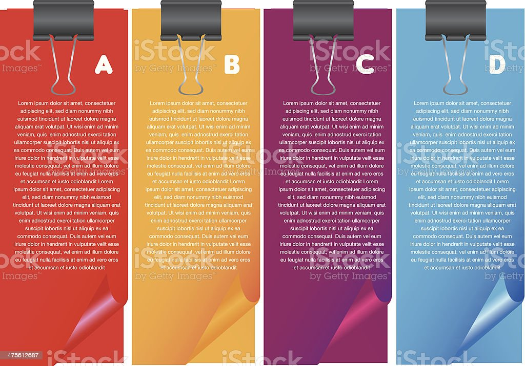 Layout design of papers with own area for text. vector art illustration