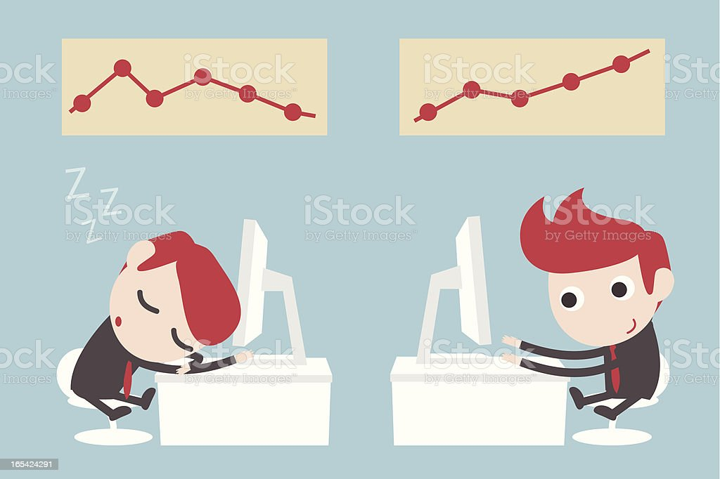 lazy and hardwork businessman royalty-free stock vector art