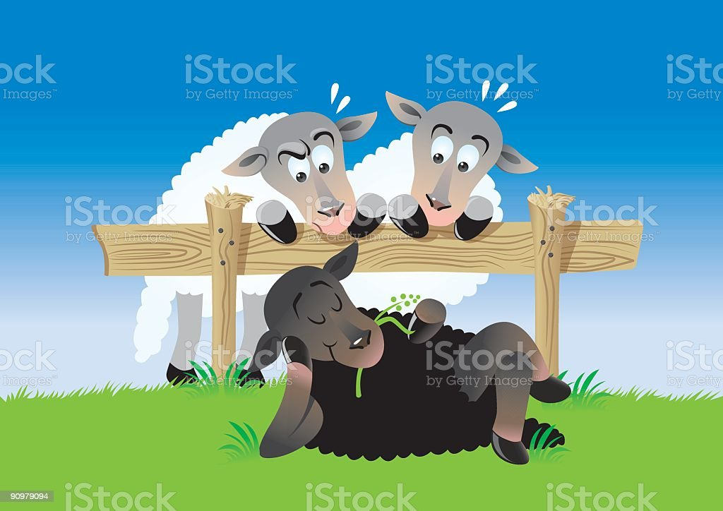 Lazy Dark Sheep vector art illustration