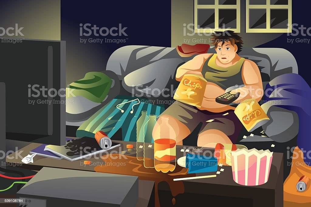 Lazy man eating potato chips and watching TV vector art illustration