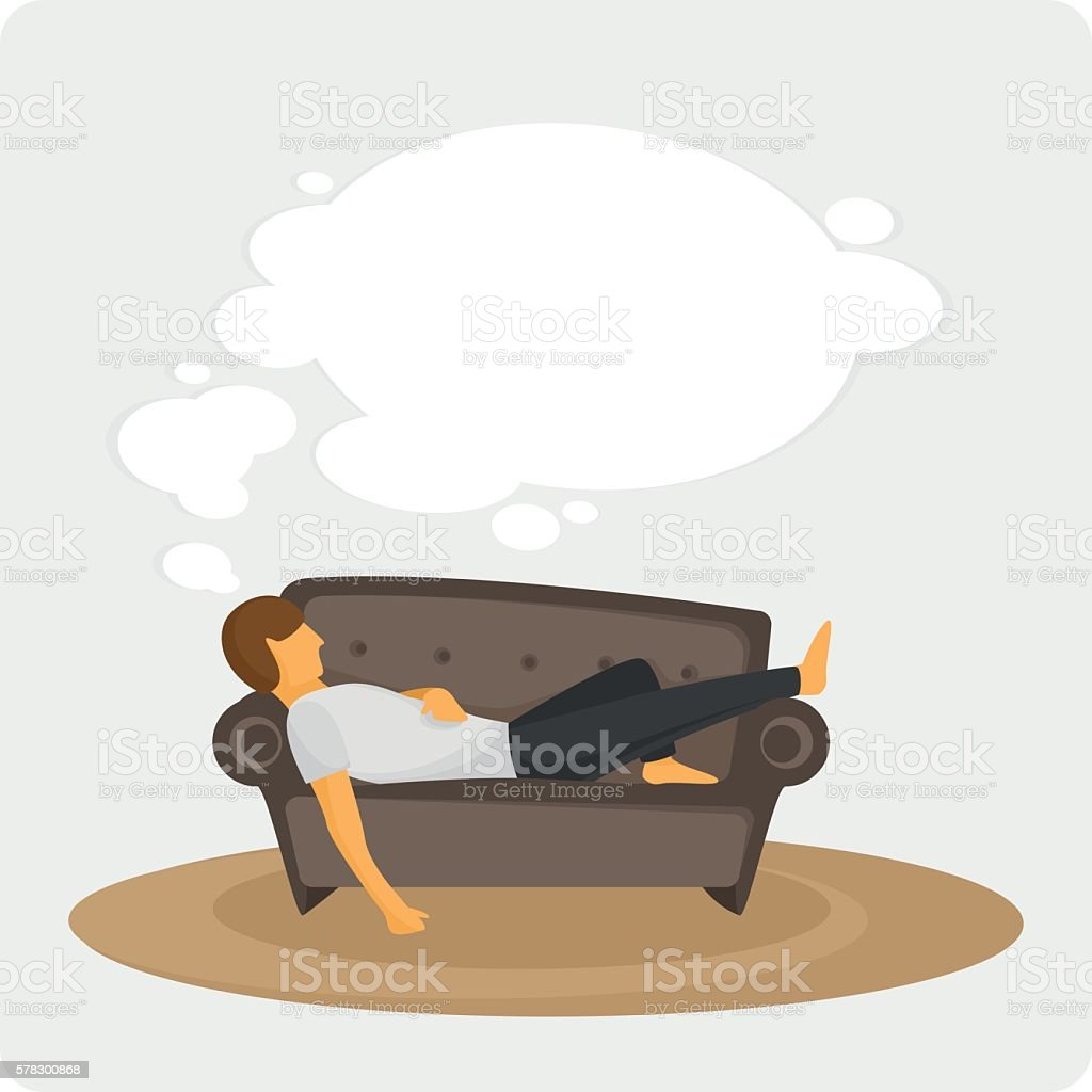 Lazy on the couch. vector art illustration