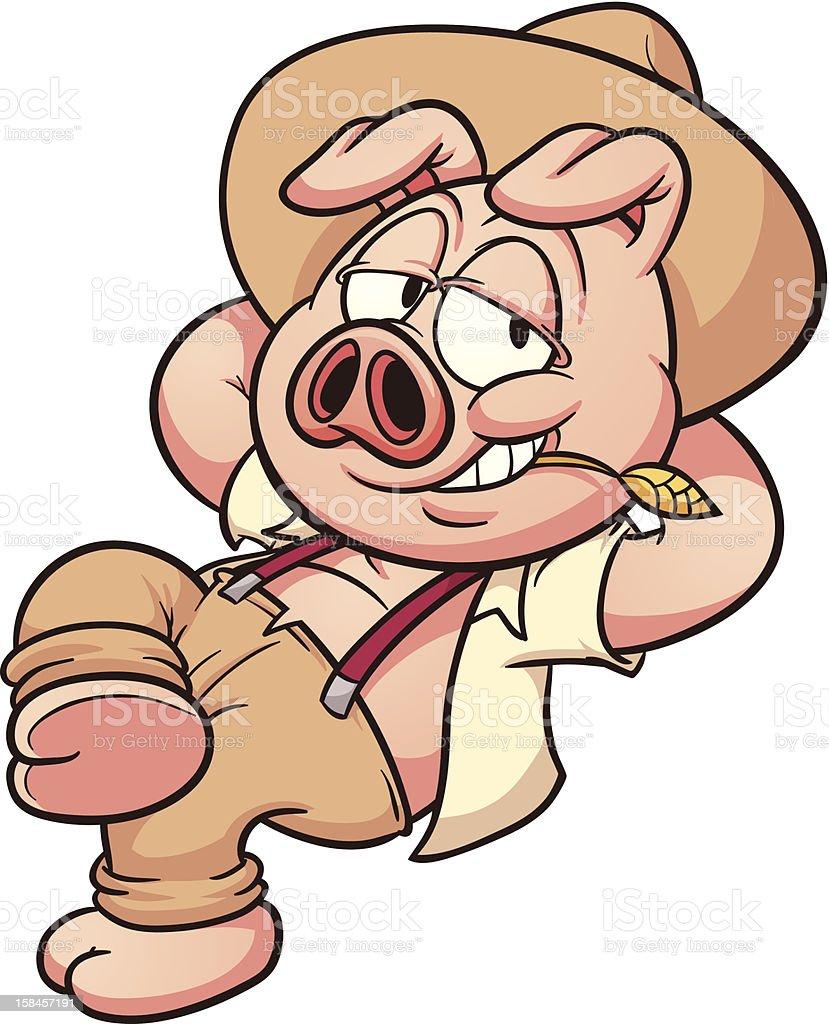 Lazy pig royalty-free stock vector art