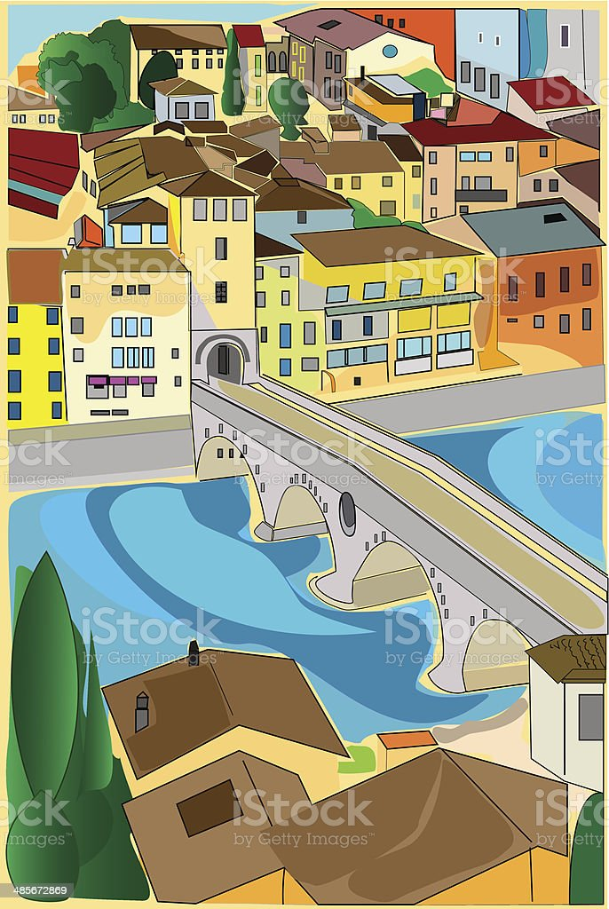 Ožld town vector art illustration