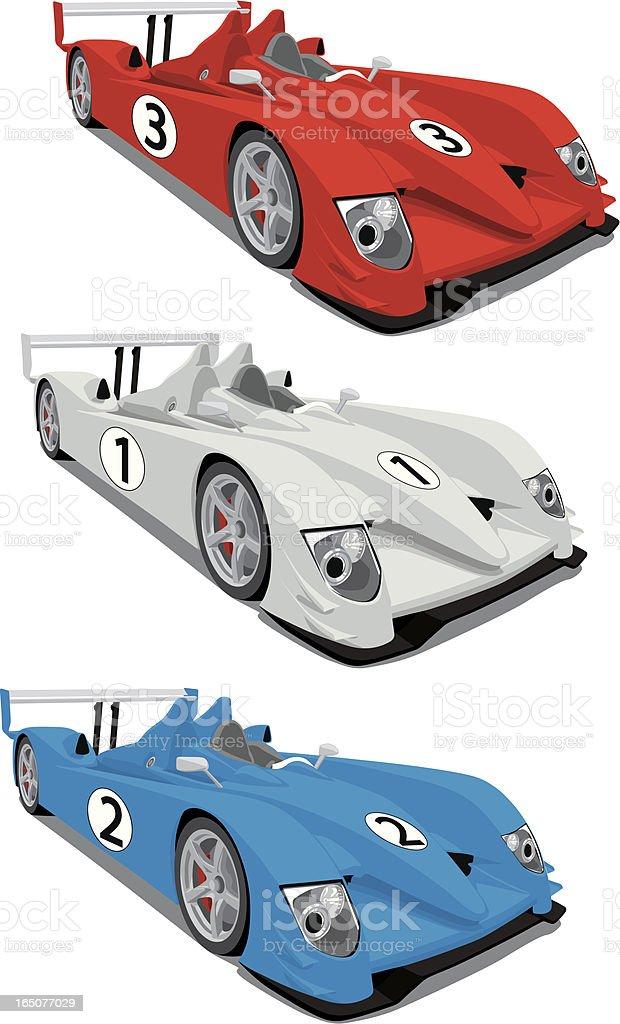 Le Mans Race Cars vector art illustration