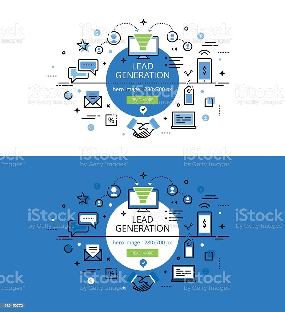 Lead Generation. Flat line color hero images and hero banners vector art illustration