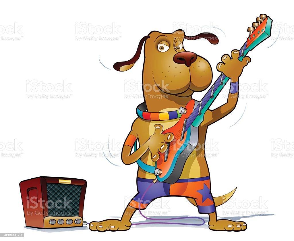 Lead guitar star vector art illustration