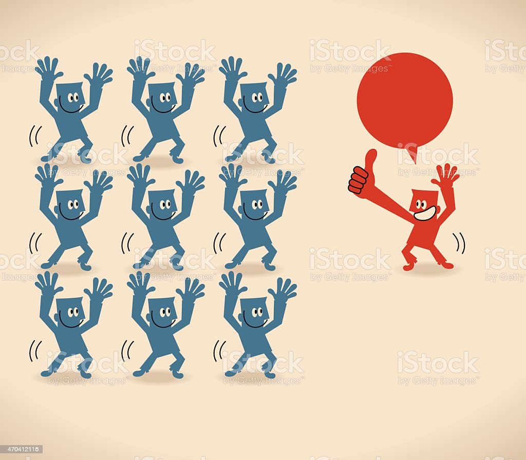Leader (Manager) and group of business people (businessmen) dancing vector art illustration