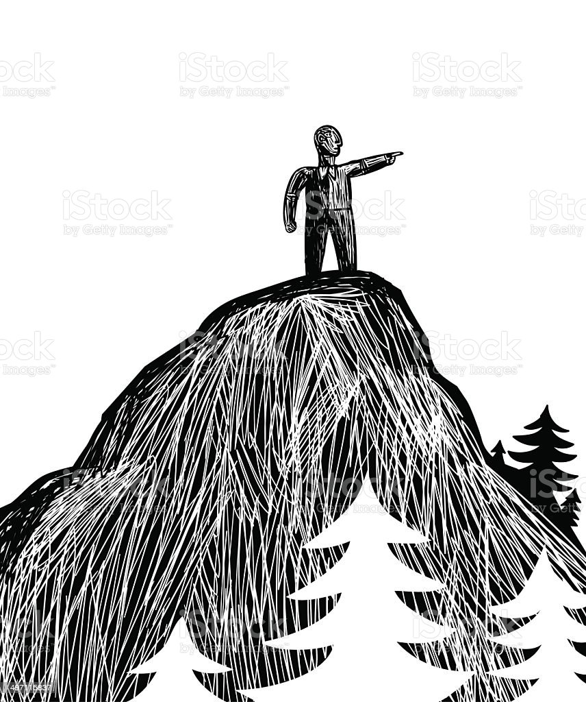 Leader in the mountain vector art illustration