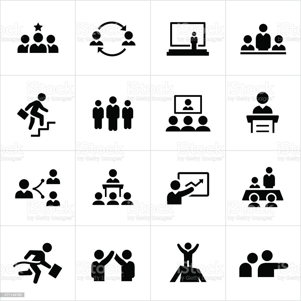 Leadership and Management Icons vector art illustration