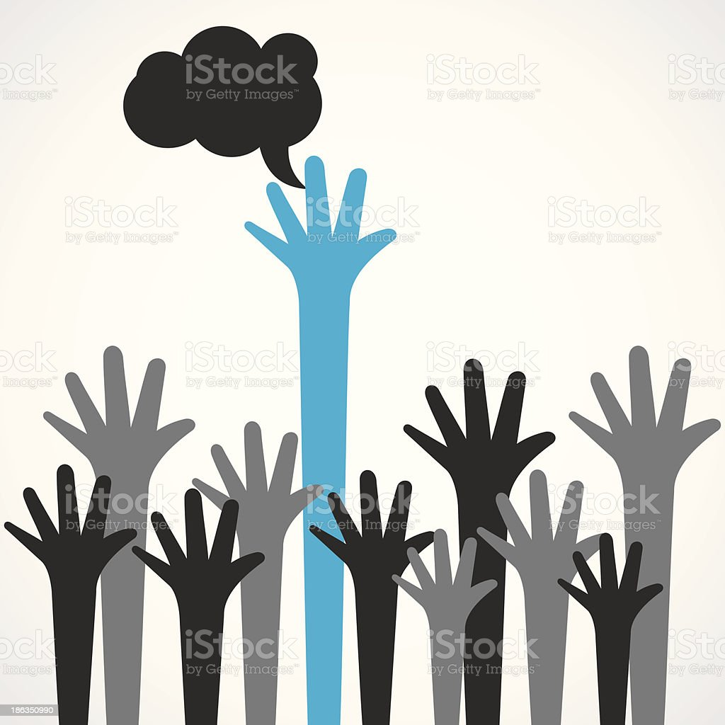 Leadership concept featuring diverse hands royalty-free stock vector art