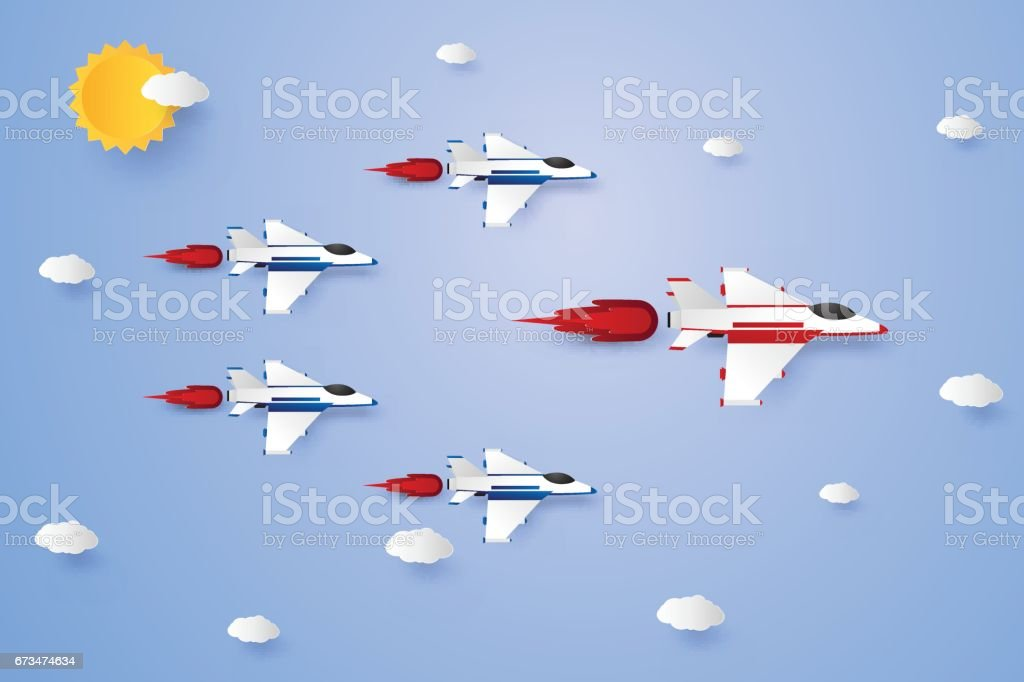 Leadership concept , Jet plane flying in the sky vector art illustration