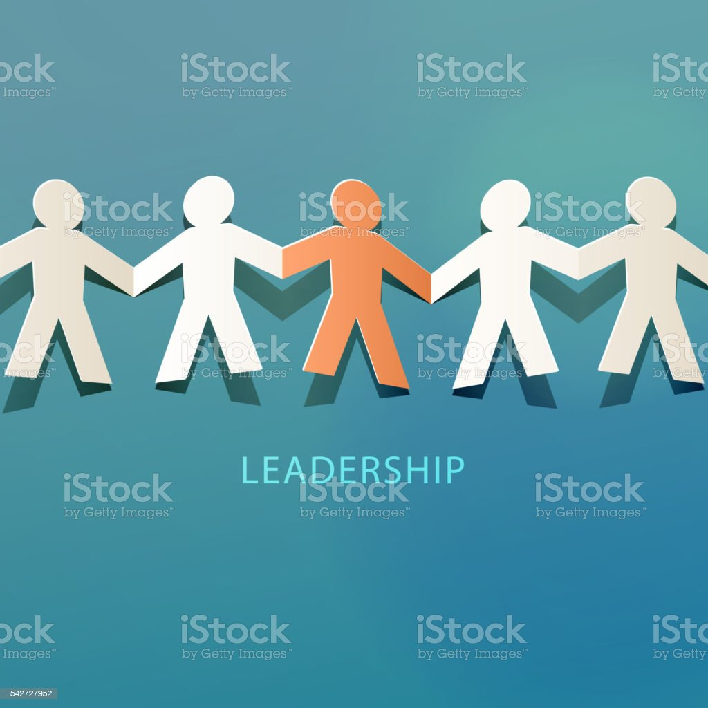 Leadership Concept Paper Cut vector art illustration