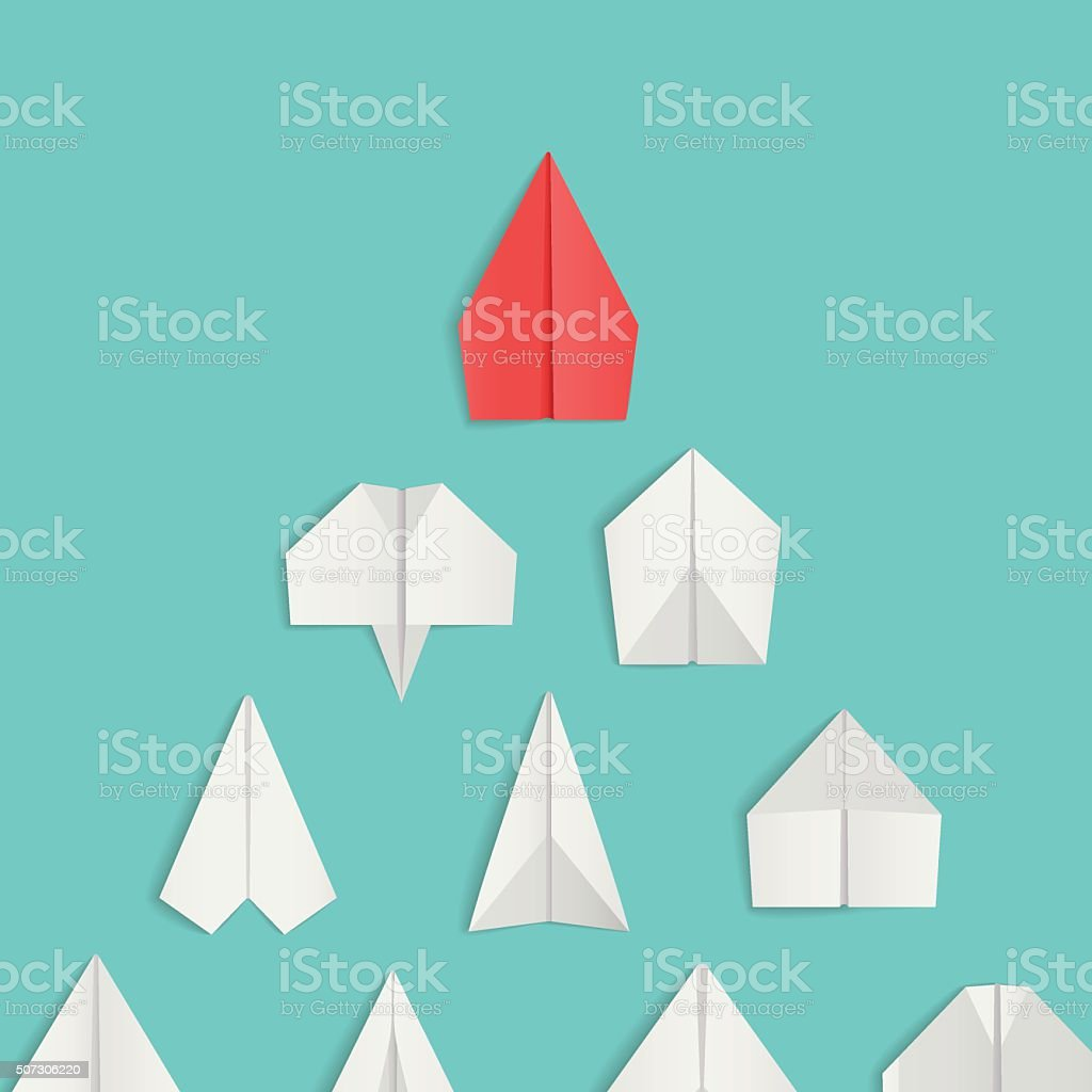 Leadership concept with red paper airplane leading among white. vector art illustration