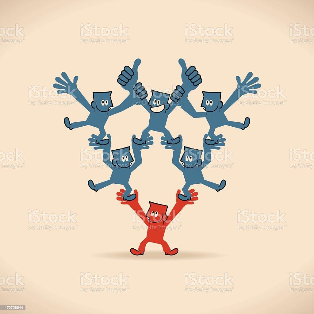 Leadership, inverted human pyramid, businessmen stands on coworker vector art illustration