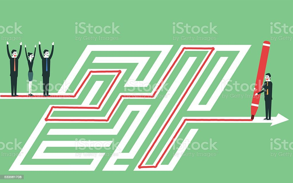 Leading team out of maze vector art illustration