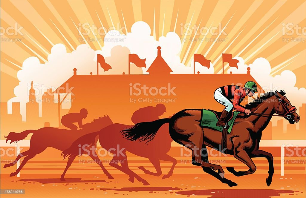 Leading Thoroughbreds in the Horse Race vector art illustration