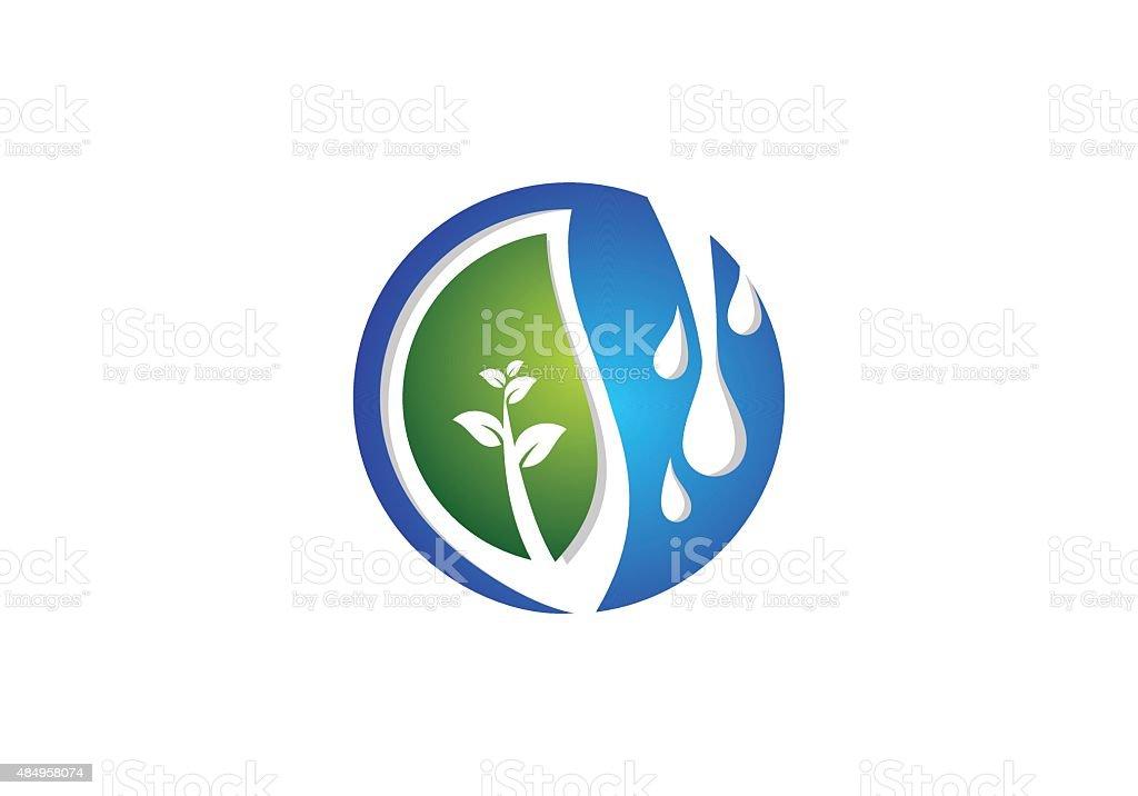 Leaf and Springs symbol icon illustration vector design vector art illustration