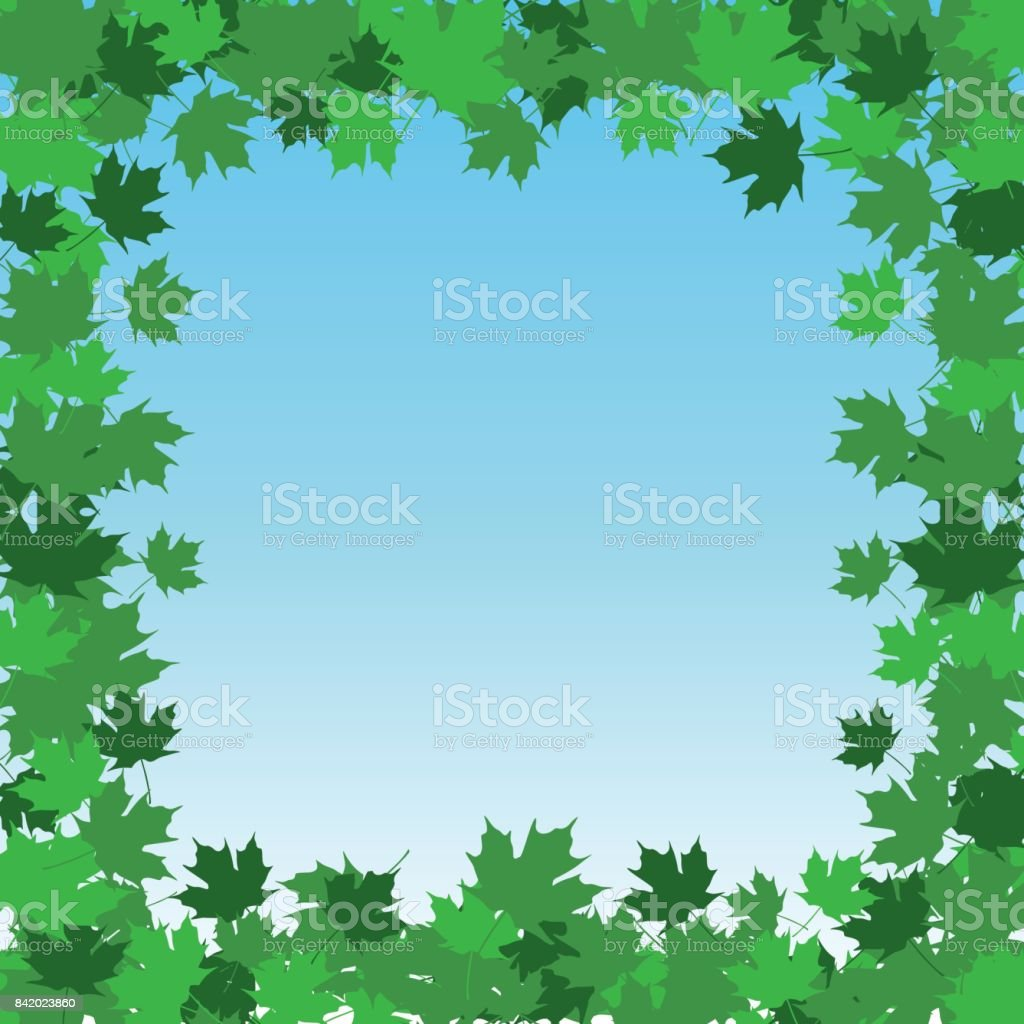 Leaf Border Frame - Summer vector art illustration