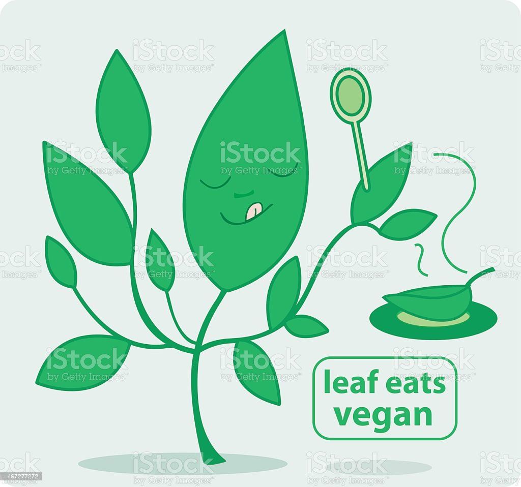 Leaf eats vegan vector art illustration