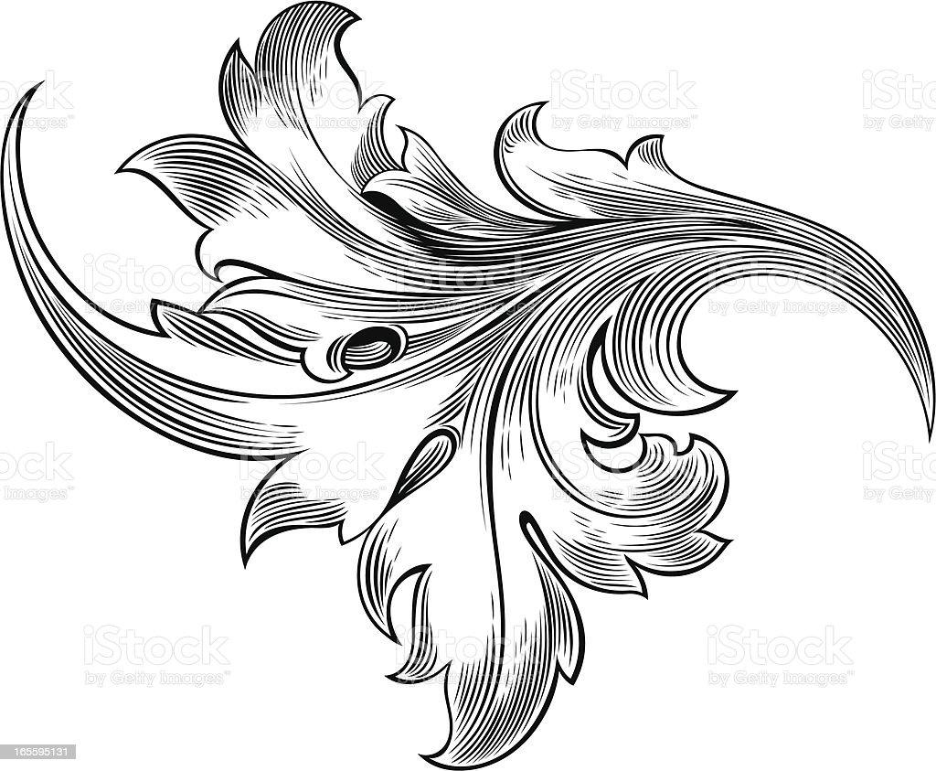 Leaf Engraving royalty-free stock vector art