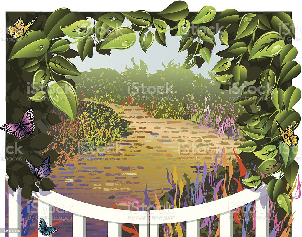 Leaf Frame Around a Garden Gate with Pathway vector art illustration