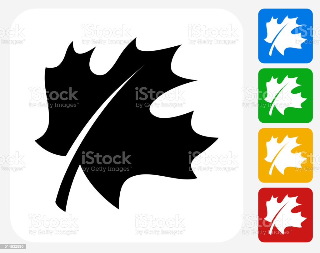 Leaf Icon Flat Graphic Design vector art illustration