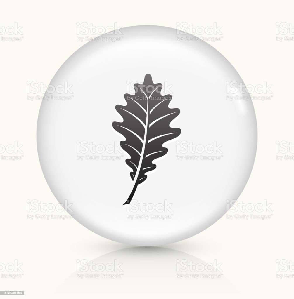 Leaf icon on white round vector button vector art illustration