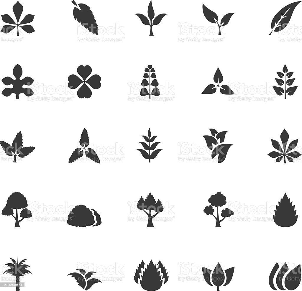 Leaf icon set vector art illustration