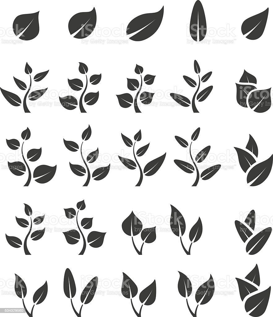 Leaf icon set vector art illustration