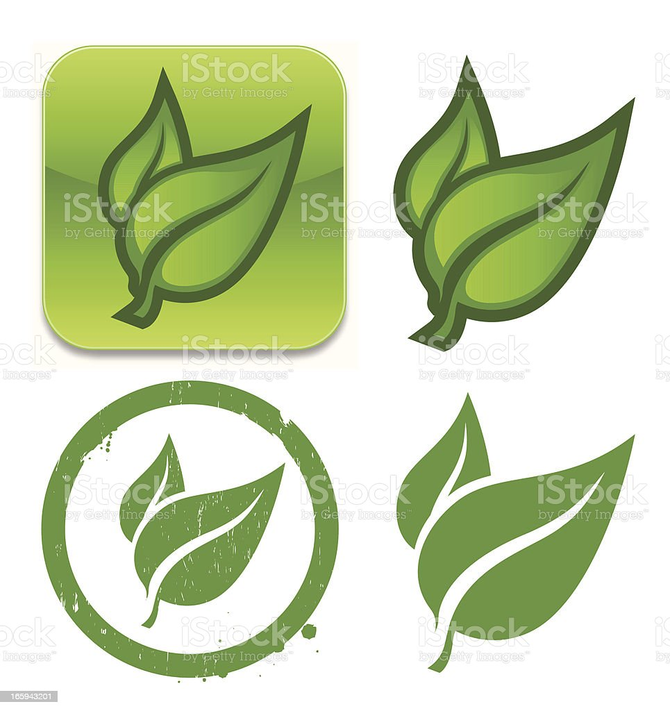 Leaf icons royalty-free stock vector art