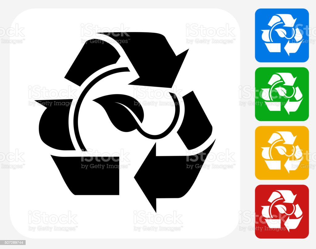 Leaf in Recycling Symbol Icon Flat Graphic Design vector art illustration