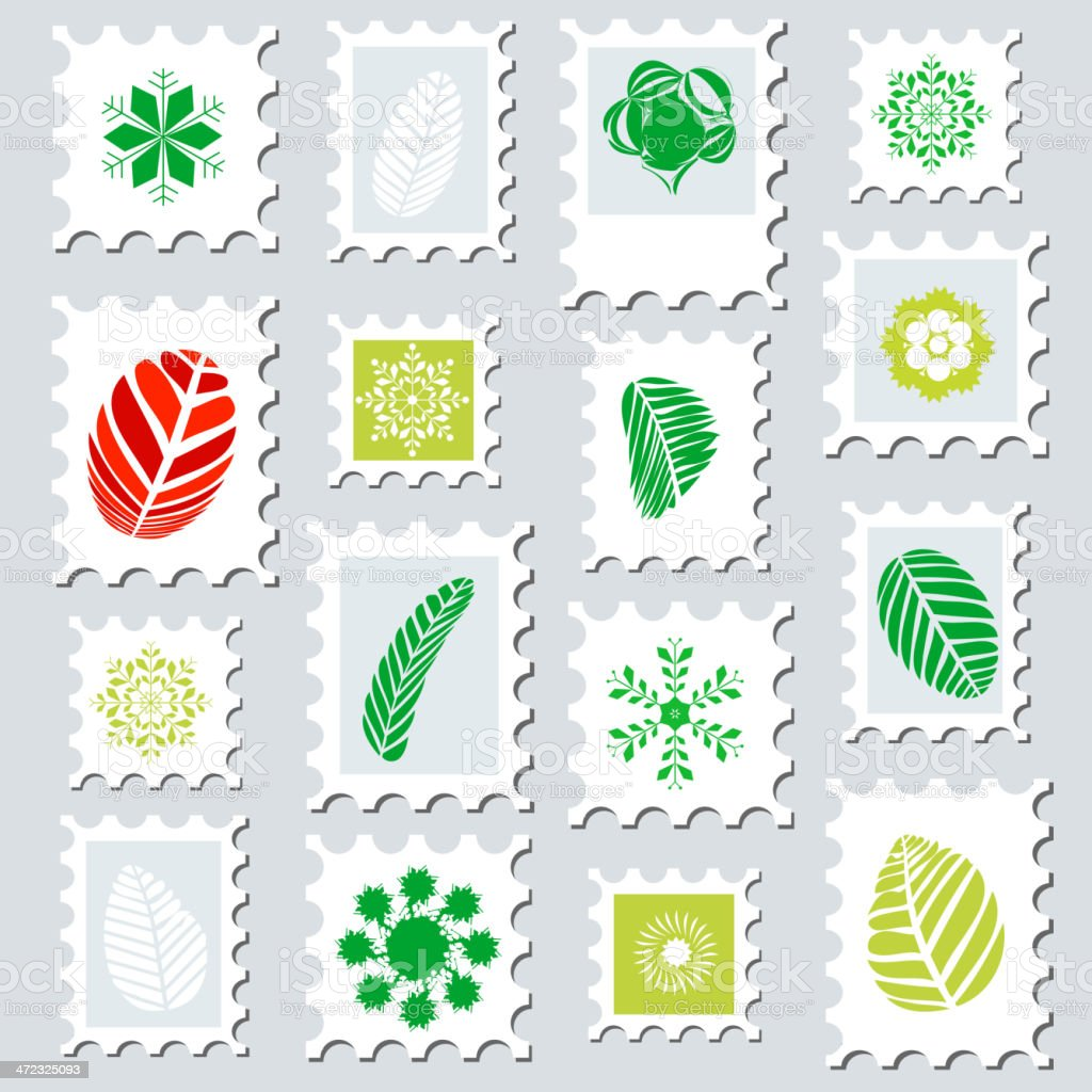leaf pattern in stamp style royalty-free stock vector art