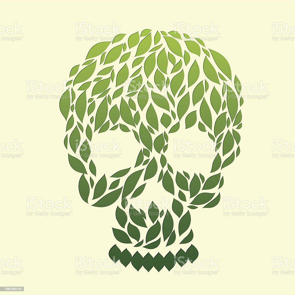 Leaf Skull vector art illustration