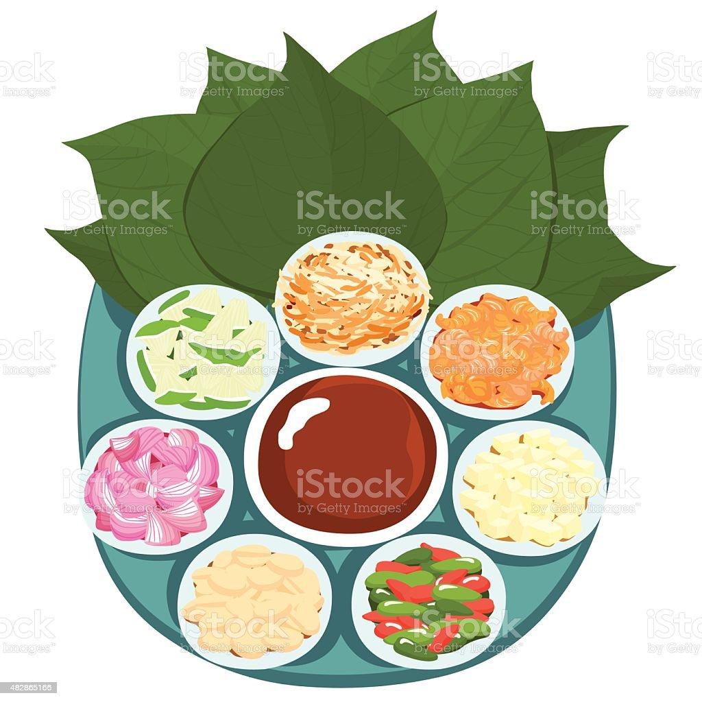 Leaf wrapped salad bite Thai appetizer vector illustration vector art illustration