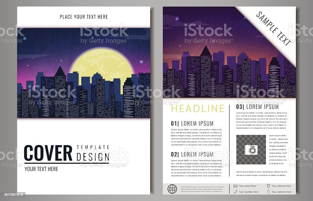Leaflet Brochure Flyer template design with urban landscape. royalty-free stock vector art