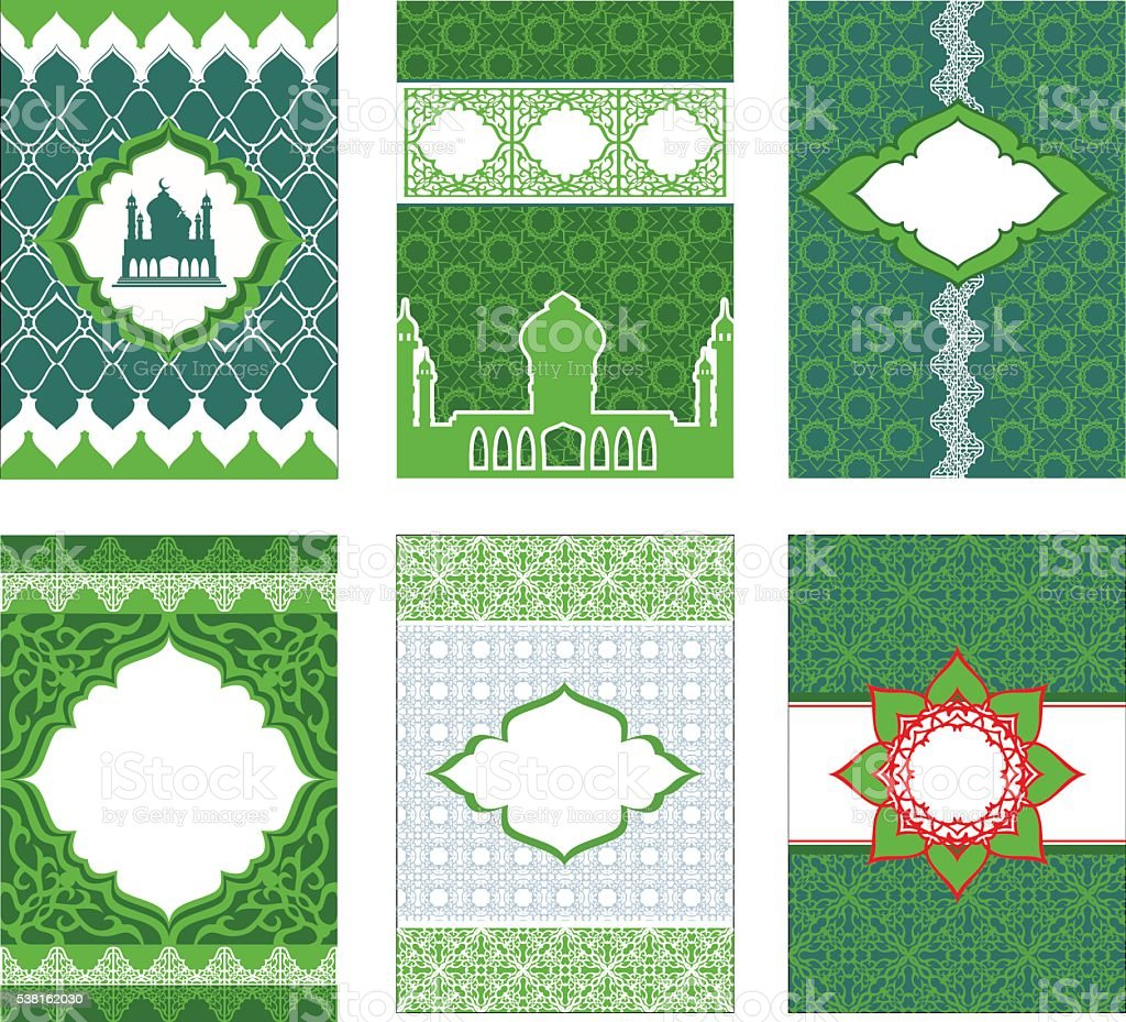 Leaflets, booklets, banners in Arabic and Islamic style, in gree vector art illustration