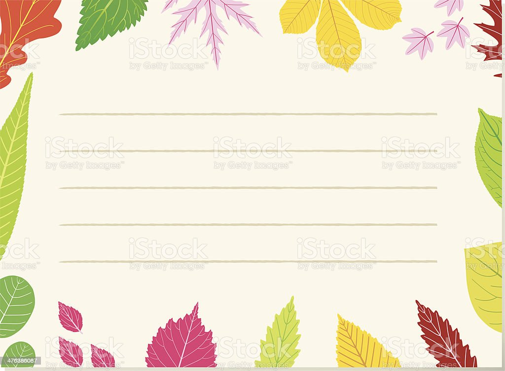 Leafpaper (decorative colored leafborder). vector art illustration