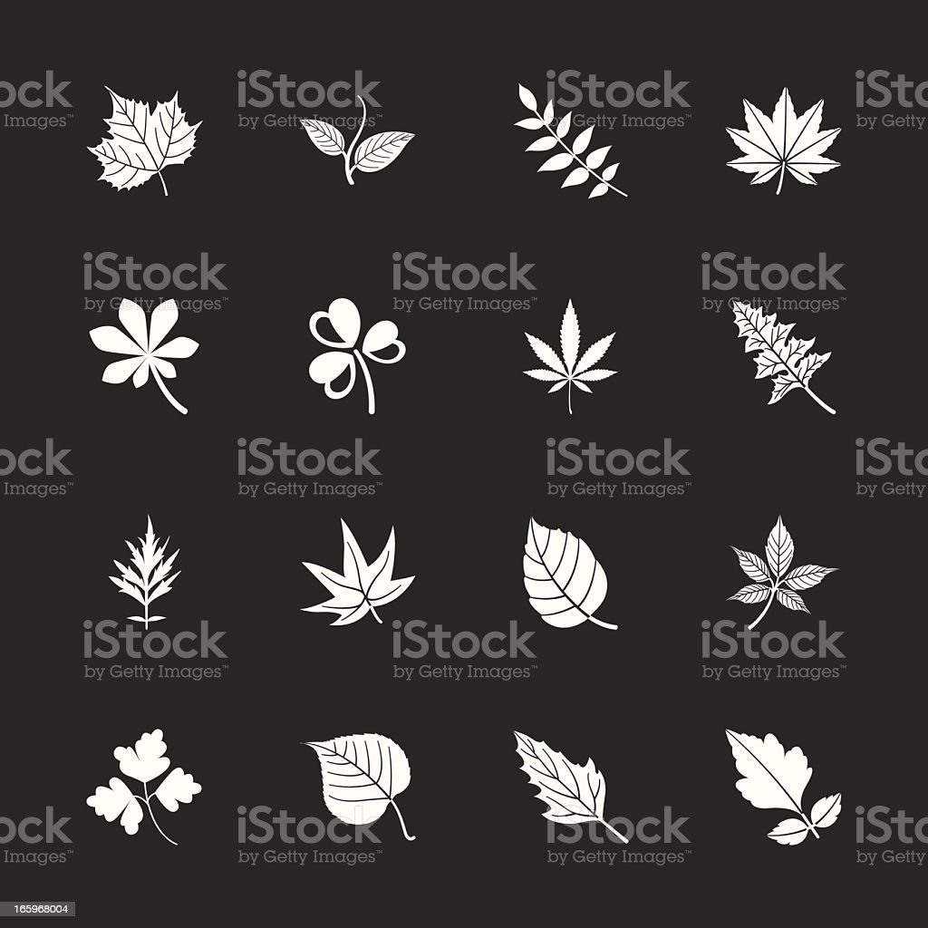 Leafs Shape Icons - White Series | EPS10 royalty-free stock vector art