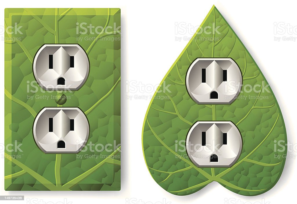 Leafy Electrical Outlet vector art illustration