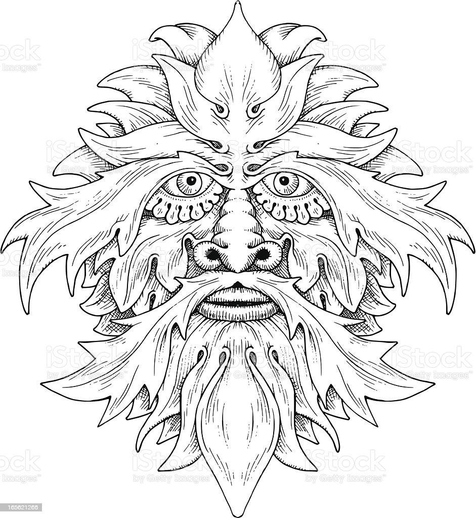 Leafy Face royalty-free stock vector art