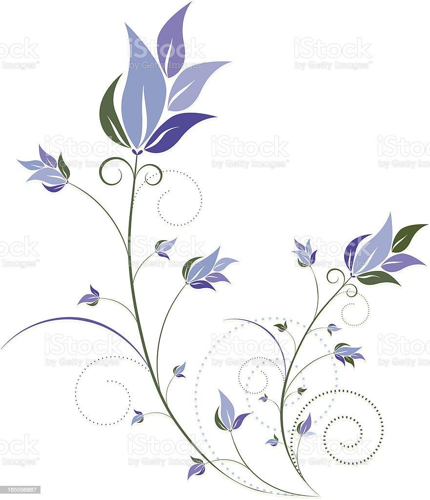 Grünen Blumenmuster Schnörkel Design-Element mit blauen Blumen Lizenzfreies vektor illustration