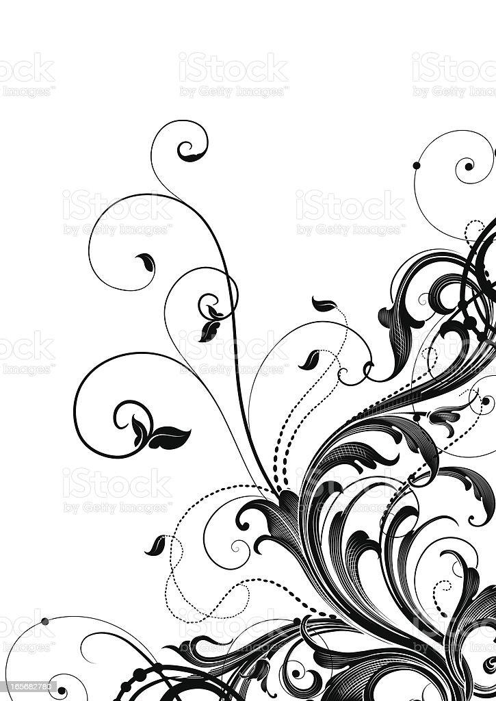 Leafy Scrollwork Corner royalty-free stock vector art