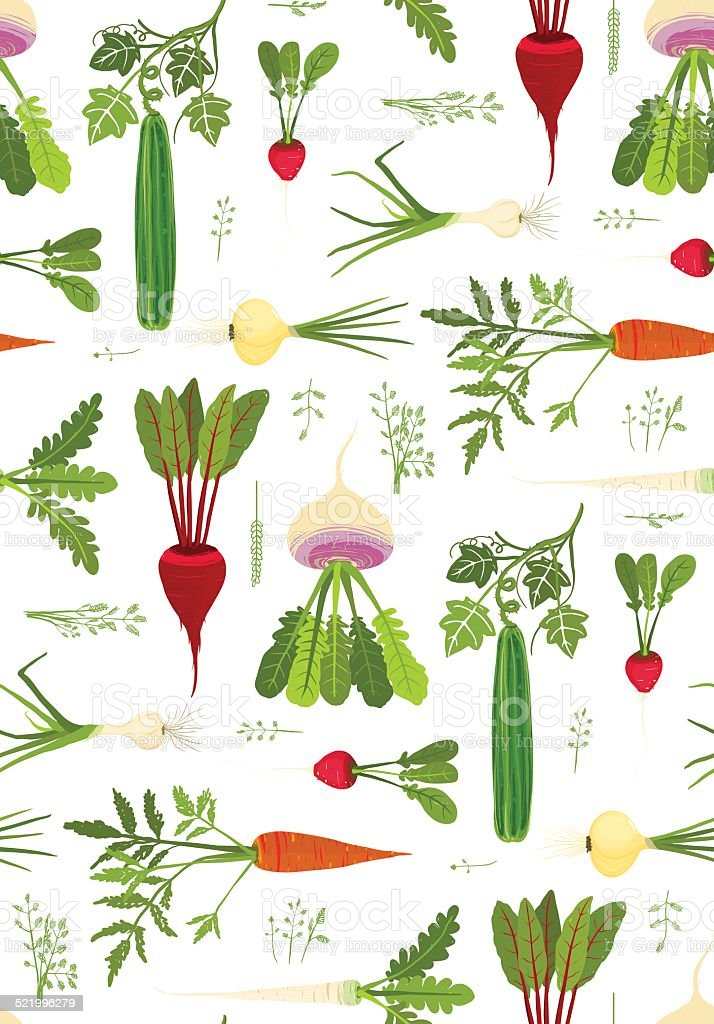 Leafy Vegetables and Greens Seamless Pattern Background vector art illustration
