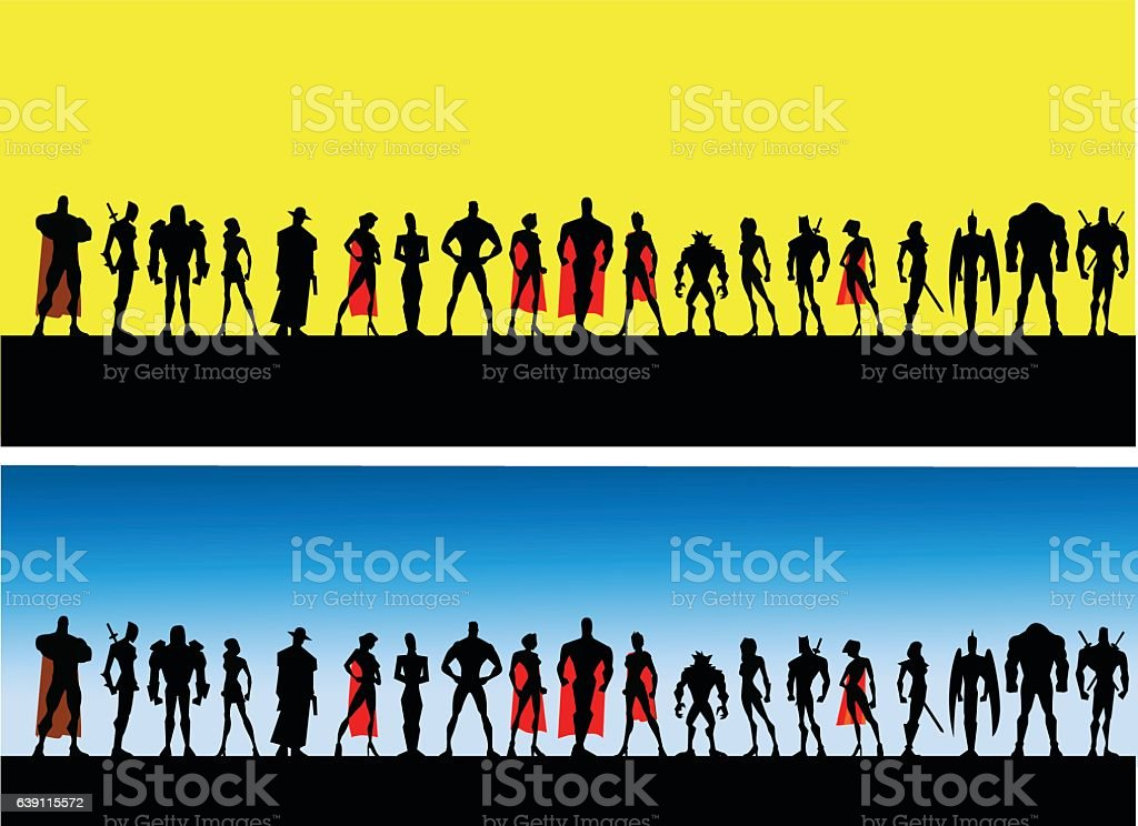 League of Superheroes Male and Female vector art illustration
