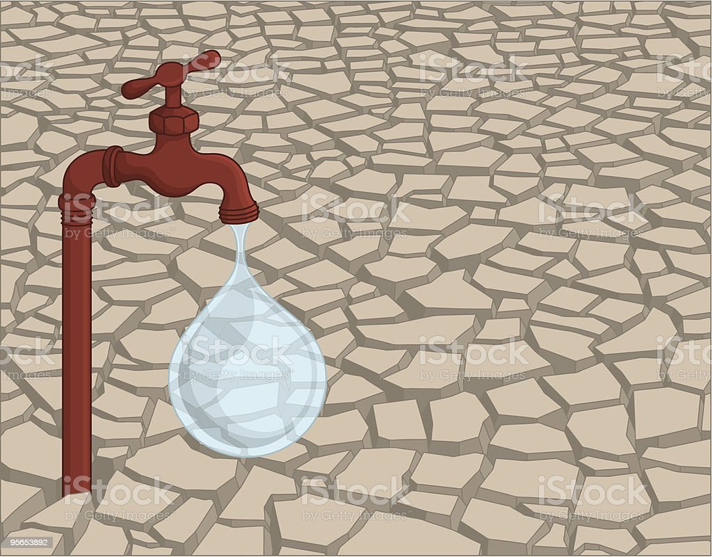 Leaking faucet in dried soil vector art illustration