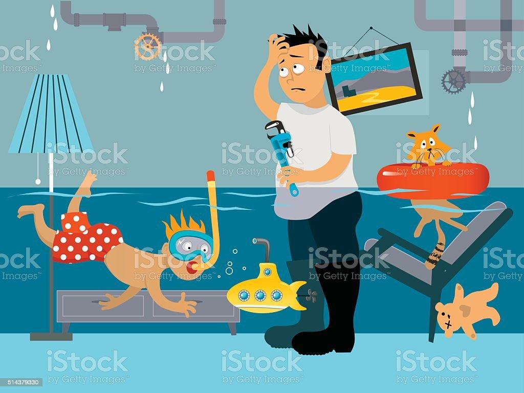 Leaking plubming vector art illustration