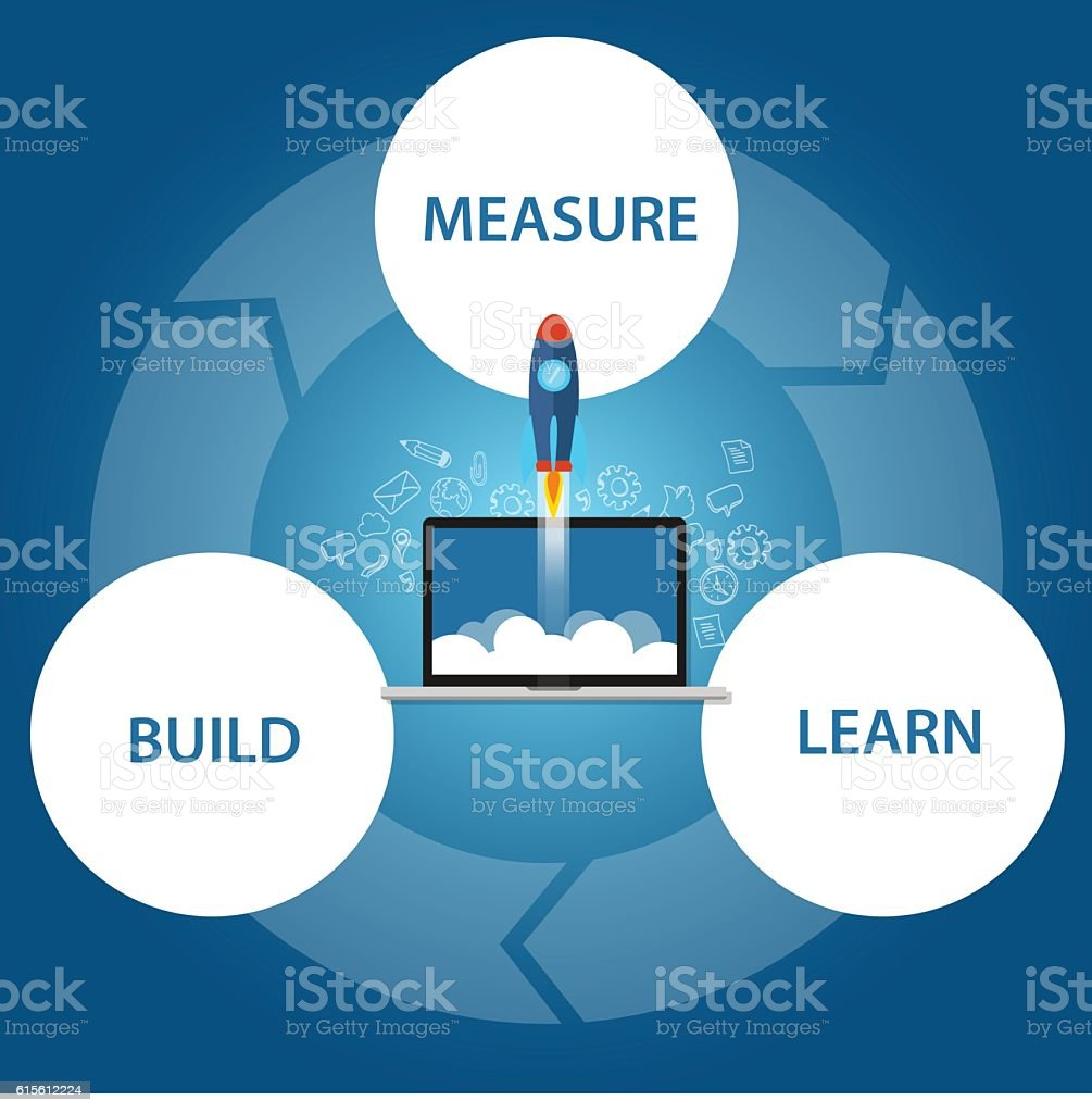 lean start-up build learn measure rocket launch techology vector art illustration