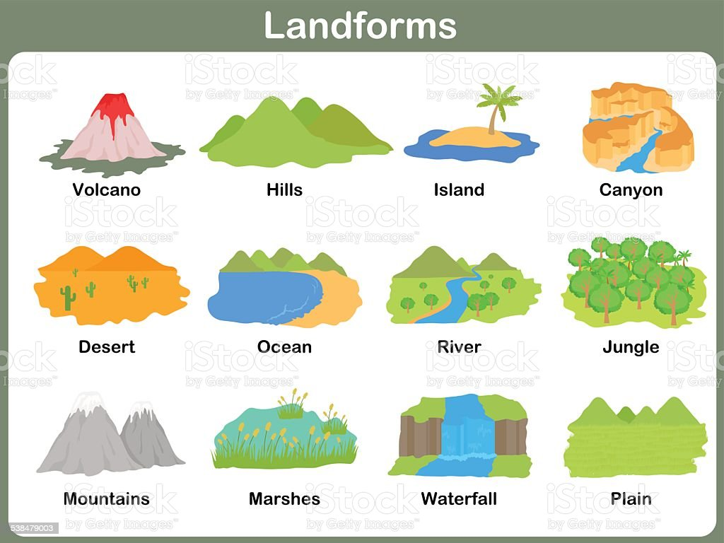 leaning landforms for kids worksheet stock vector art 538479003 istock. Black Bedroom Furniture Sets. Home Design Ideas